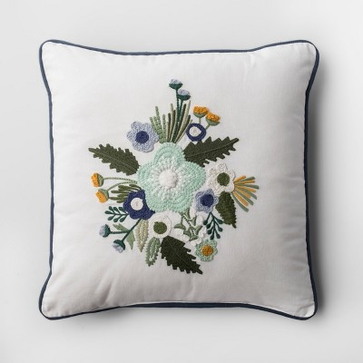 Floral Throw Pillow (18 )- White/Blue - Threshold™