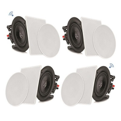 Pyle Audio 5.25 Inch 2 Way 150 Watt Flush Mount Bluetooth Home Ceiling Wall Amplifier Speaker System with Interchangeable Mesh Covers, 4 Pack