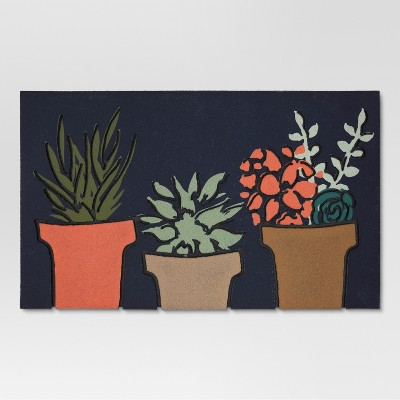 Blue Botanical Doormat - (1'6 X2'8 )- Threshold™