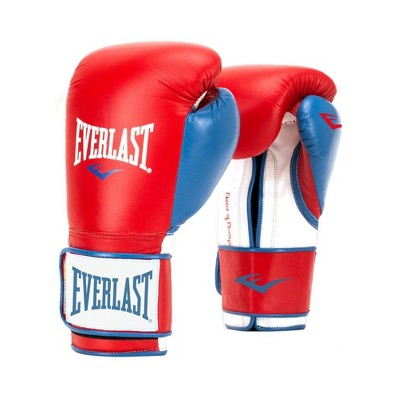 Everlast P00000730 16 Ounce Powerlock Hook & Loop Training Kickboxing Boxing Bag Gloves, Red/Blue