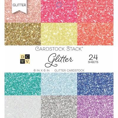 "DCWV Single-Sided Cardstock Stack 6""X6"" 24/Pkg-Glitter, 12 Colors/2 Each"