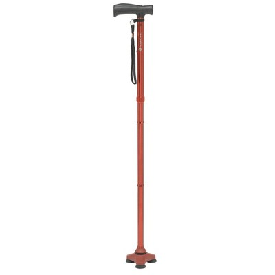 HurryCane Freedom Edition Folding Cane with T Handle, Red