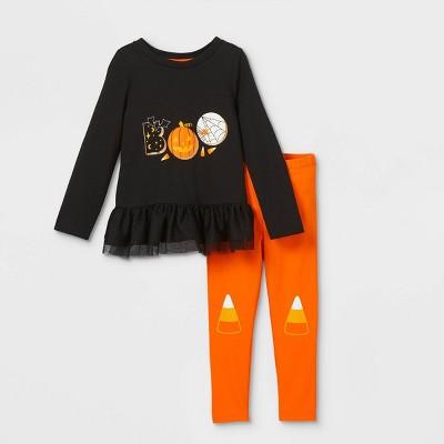 Toddler Girls' 'Boo' Peplum Long Sleeve Top & Candy Corn Leggings Set - Cat & Jack™ Black/Orange