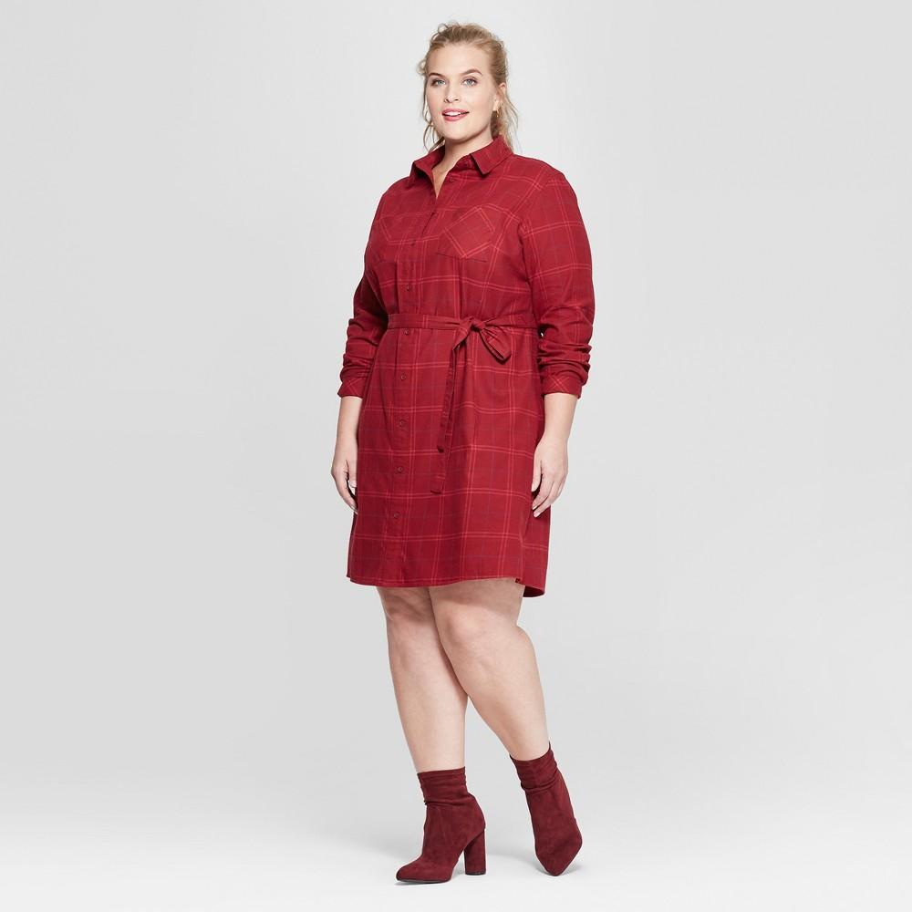 Women's Plus Size Plaid Flannel Shirtdress - Ava & Viv Red X
