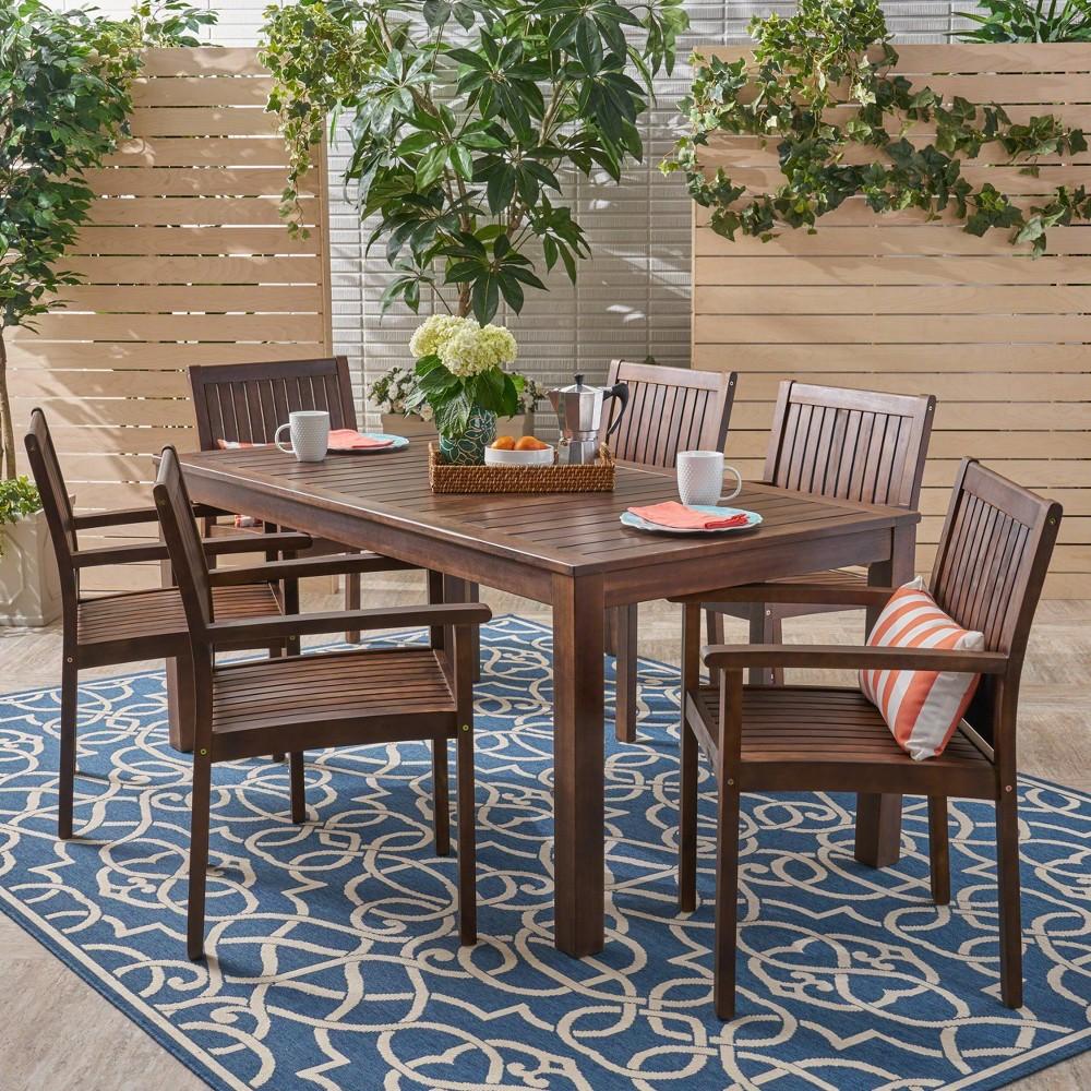 Fallon 7pc Acacia Wood Patio Dining Set - Dark Brown - Christopher Knight Home