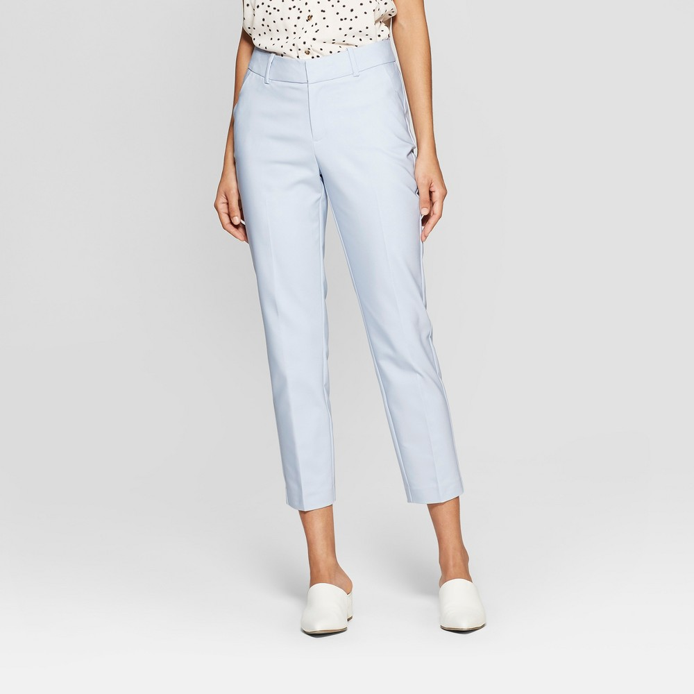 Women's Straight Leg Slim Ankle Pants - A New Day Light Blue 6