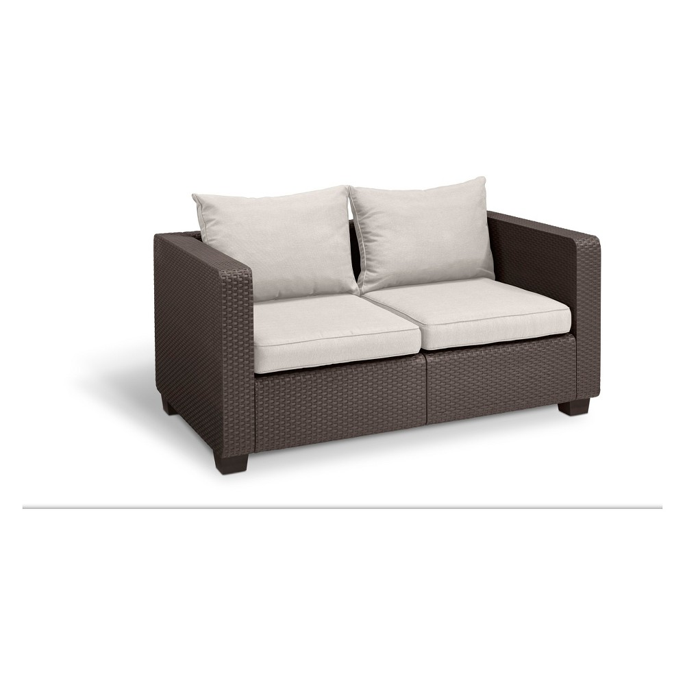 Image of Salta Outdoor Resin Patio Loveseat with Cushions Brown - Keter