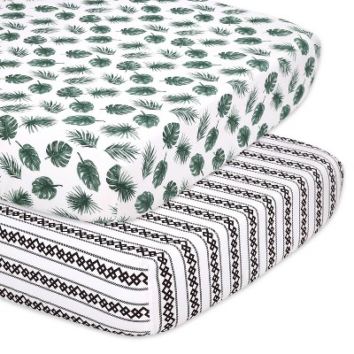 The Peanutshell Fitted Crib Sheets - Green Botanical Leaf and Stripe - 2pk
