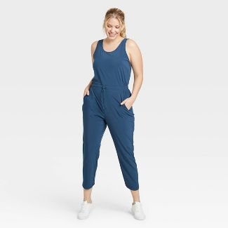 Women's Stretch Woven Jumpsuit - All in Motion™ Blue L