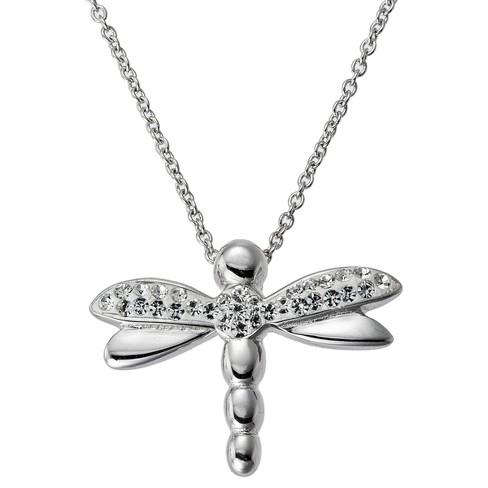 Silver Plated Crystal DragonFly Pendant - image 1 of 2