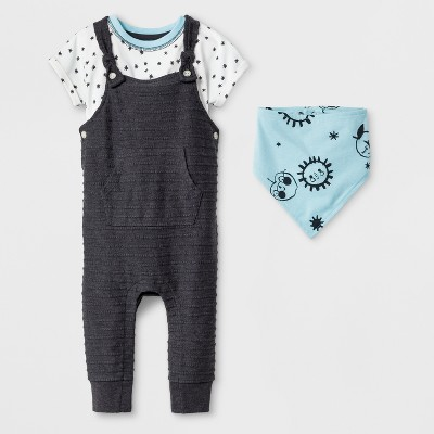 Baby Boys' 3pc Short Sleeve Bodysuit, Coveralls with Kangaroo Pocket, and Bib - Cat & Jack™ Blue 3-6M
