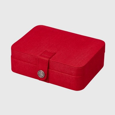 Mele & Co. Giana Women's Plush Fabric Jewelry Box with Lift Out Tray-Red