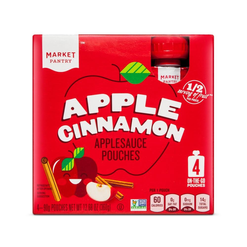 Apple Cinnamon Applesauce Pouches - 90gms - Market Pantry
