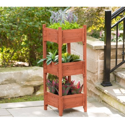 "47"" H Rectangular Wood Planter Stands And Holders - Brown - Leisure Season"