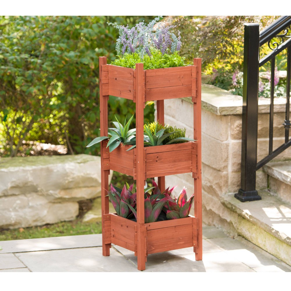 "Image of ""47"""" H Rectangular Wood Planter Stands And Holders - Brown - Leisure Season"""