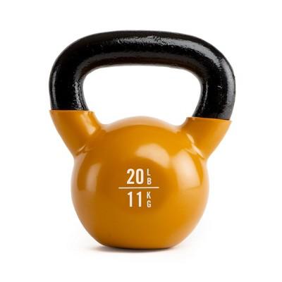 Everlast Vinyl Coated Iron Kettlebell Home Gym Strength Exercise Weight Lifting Training Accessory, 20 Pounds, Orange