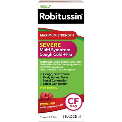 Cough & Sore Throat: Robitussin Maximum Strength Cough Cold & Flu