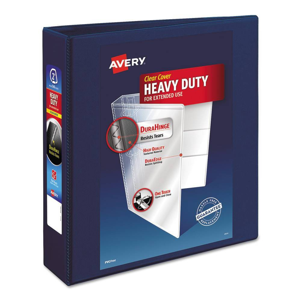 """Image of """"2"""""""" Heavy Duty View Ring Binder with One Touch EZD Rings Navy Blue - Avery"""""""