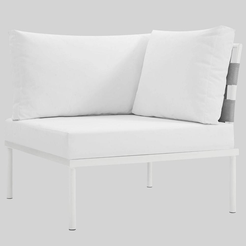 Harmony Aluminum Outdoor Patio Corner Sofa - White - Modway