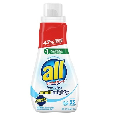 All Small & Mighty Free Clear Concentrated Liquid Laundry Detergent 53 Loads - 40 fl oz