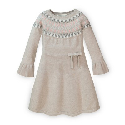 Hope & Henry Girls' Fairisle Fit and Flare Sweater Dress, Infant