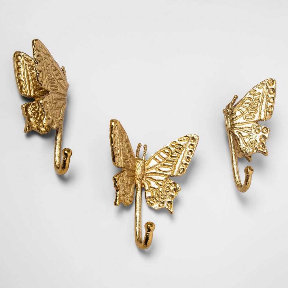 """Image of """"4.1"""""""" x 1.6"""""""" 3pk Butterfly Decorative Wall Hook Set Gold - Opalhouse"""""""