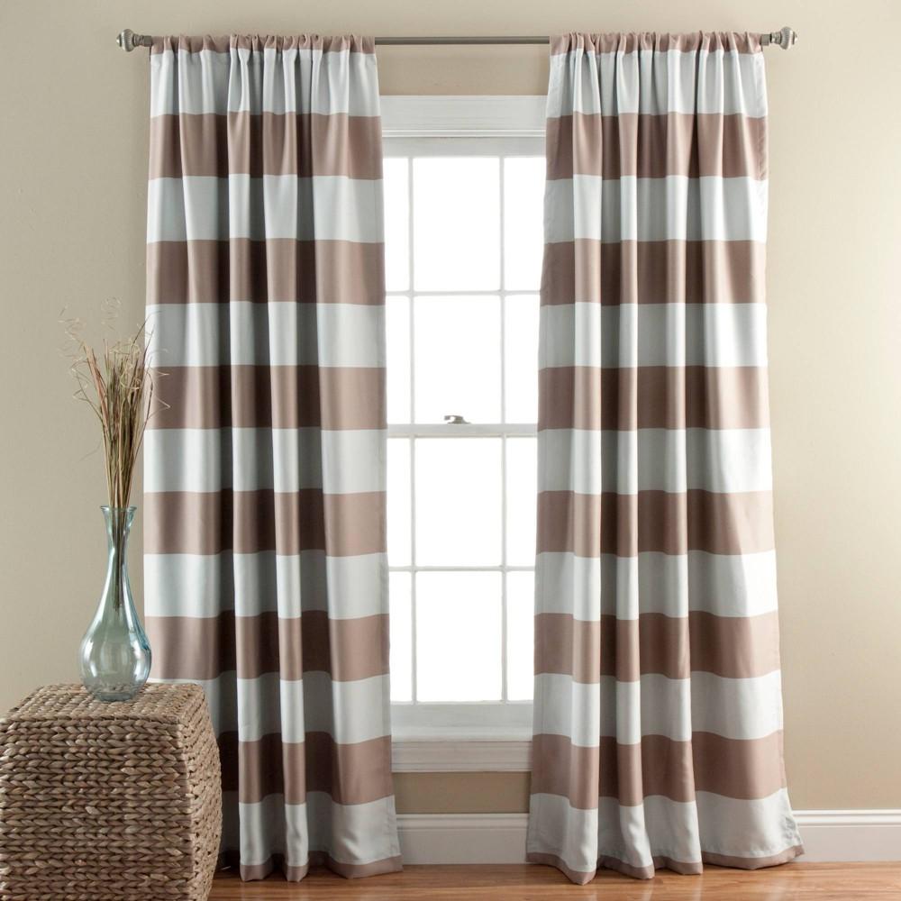 "84""x52"" Striped Room Darkening Window Curtain Panels - Lush Décor"