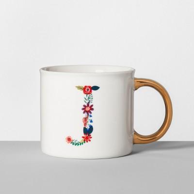 Monogrammed Porcelain Floral Mug J 16oz White/Gold - Opalhouse™