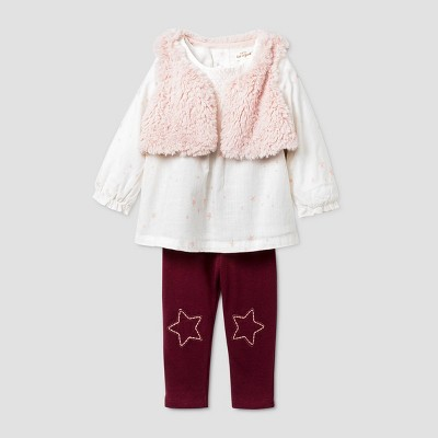 Baby Girls' Star Tunic Faux Fur Vest Top & Bottom Set - Cat & Jack™ Pink 3-6M
