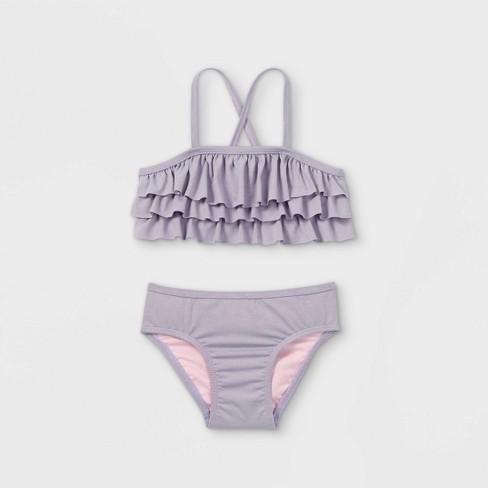 Toddler Girls' 2pc Ruffle Bikini Set - Cat & Jack™ Purple - image 1 of 2