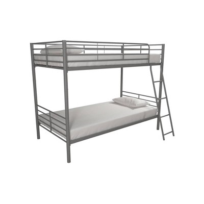 Twin Over Twin Convertible Metal Bunk Bed Silver - Room & Joy