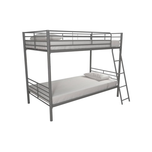 Twin Over Twin Convertible Metal Bunk Bed Silver - Room & Joy - image 1 of 4