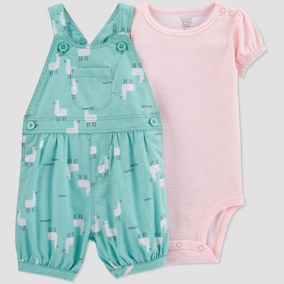 Baby Girls' Llama Top & Bottom Set - Just One You® made by carter's Teal/Peach 9M
