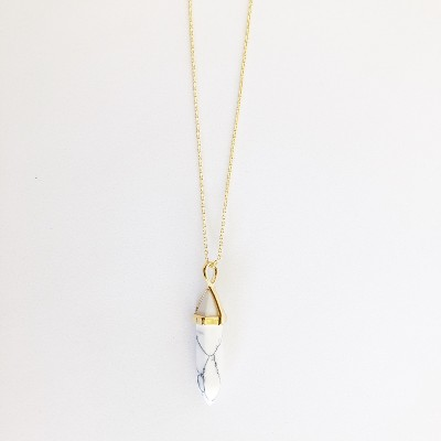 Sanctuary Project Semi Precious White Howlite Crystal Pendant Necklace Gold