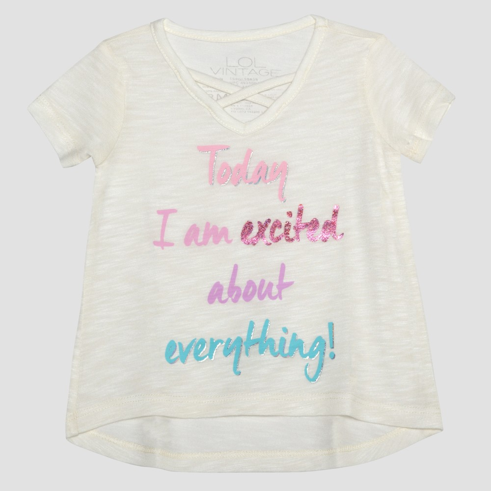 Toddler Girls' L.O.L. Vintage Today I Am Excited Short Sleeve T-Shirt - Ivory 3T, White