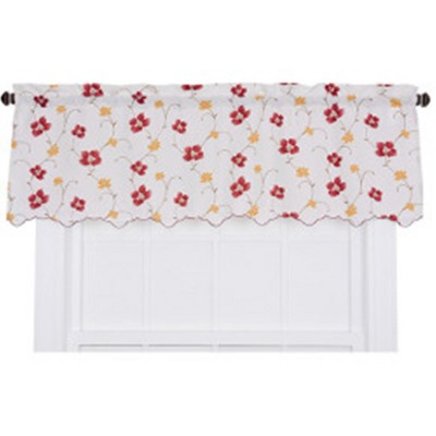 "Ellis Curtain Zoe High Quality Room Darkening Solid Natural Color Floral Print fabric Window Valance - (48""x15"")"
