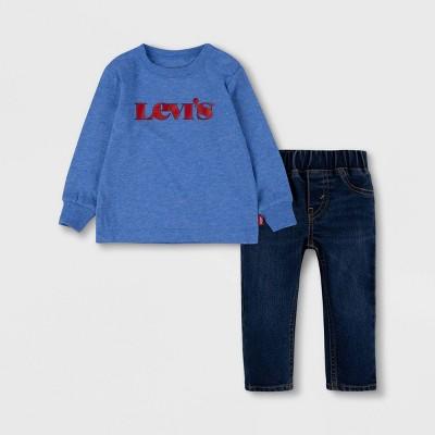 Levi's® Toddler Boys' 2pc Long Sleeve T-Shirt and Denim Bottom Set - Blue Ultramarine Heather