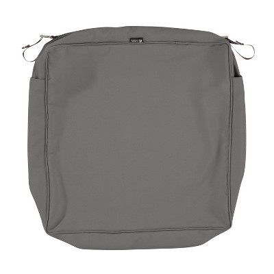 "25"" x 25"" x 5"" Montlake Water-Resistant Patio Seat Cushion Slip Cover Light Charcoal Gray - Classic Accessories"