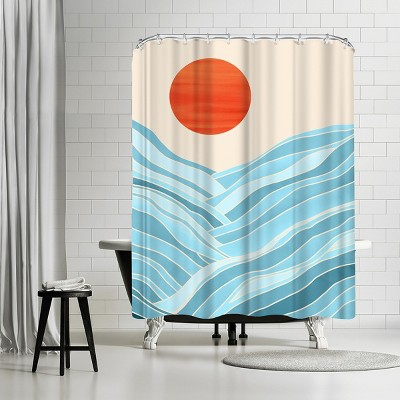 "Americanflat Waves Like Mountains by Modern Tropical 71"" x 74"" Shower Curtain"