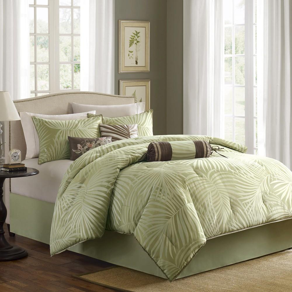 Key West 7 Piece Jacquard Comforter Set - Sage (California King), Brown