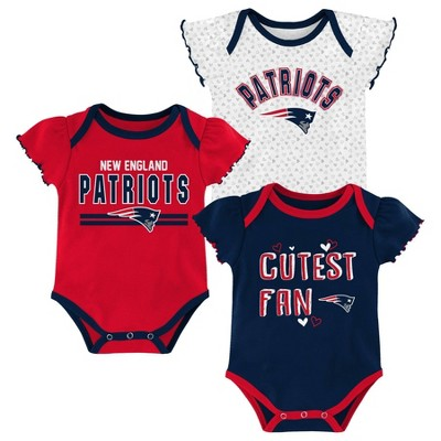 NFL New England Patriots Baby Girls' Bodysuit Set 3pk - 12M
