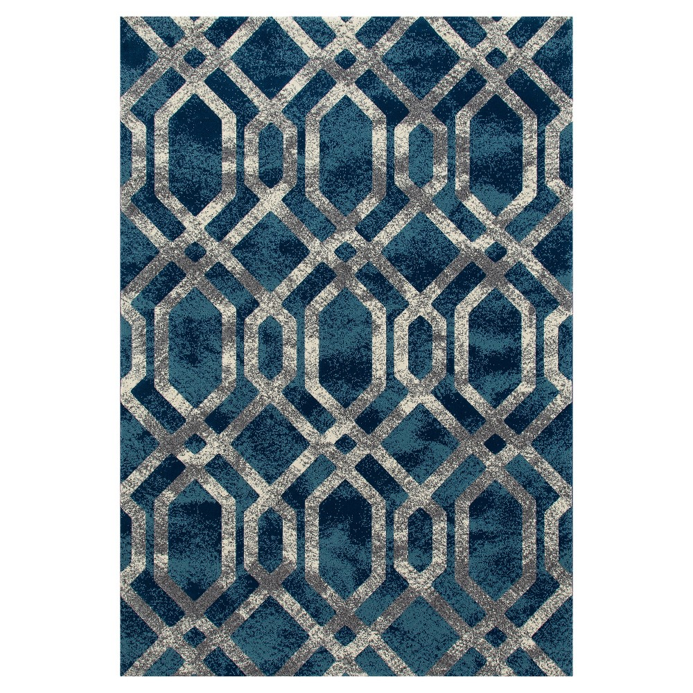 Image of Blue Abstract Woven Area Rug - (5'X8') - Art Carpet