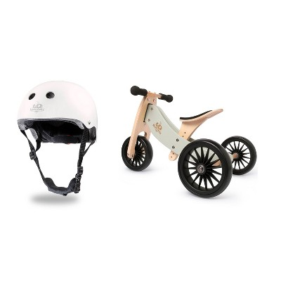 Kinderfeets White Adjustable Toddler and Kids Bike Helmet Bundle with Kinderfeets Silver Sage Tiny Tot PLUS 2-in-1 Balance Trike Tricycle