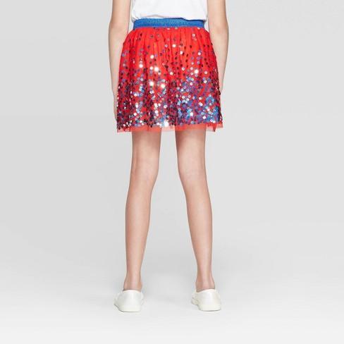 a0ba9d0f4 Girls' Americana Star Sequins Tutu Skirt - Cat & Jack™ Red : Target