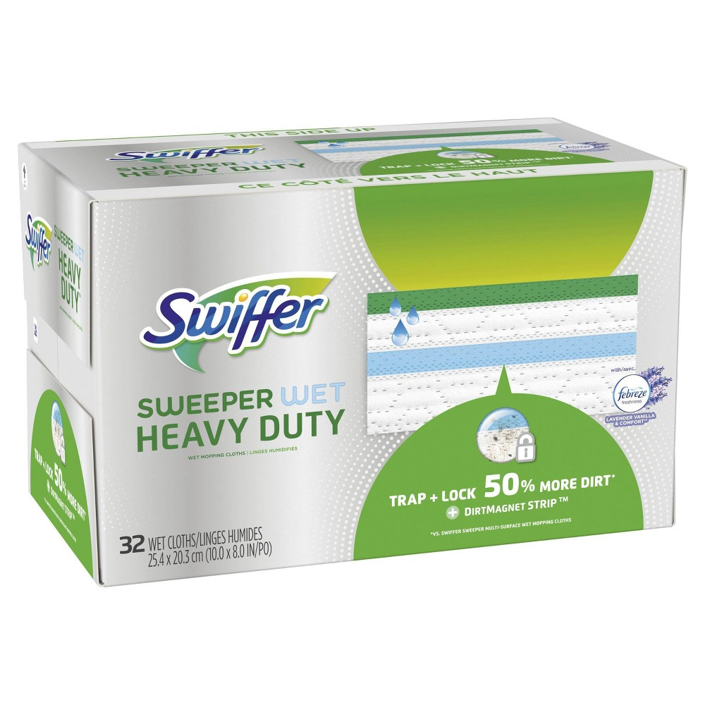 Swiffer Sweeper Heavy Duty Wet Cloths - 32ct, Multi-Colored