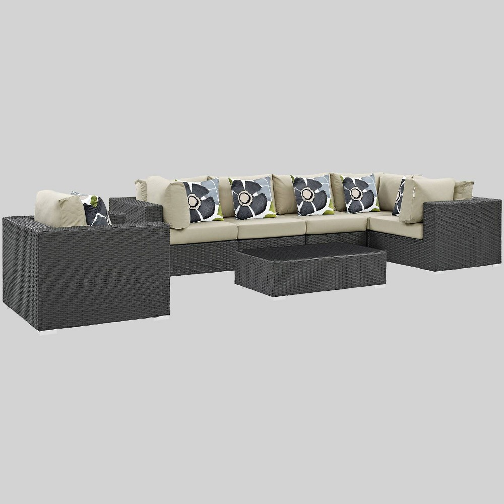 Sojourn 7pc Outdoor Patio Sunbrella Sectional Set - Beige - Modway