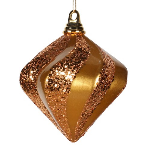 "6"" Antique Gold Candy Glitter Swirl Diamond Christmas Ornament - image 1 of 1"