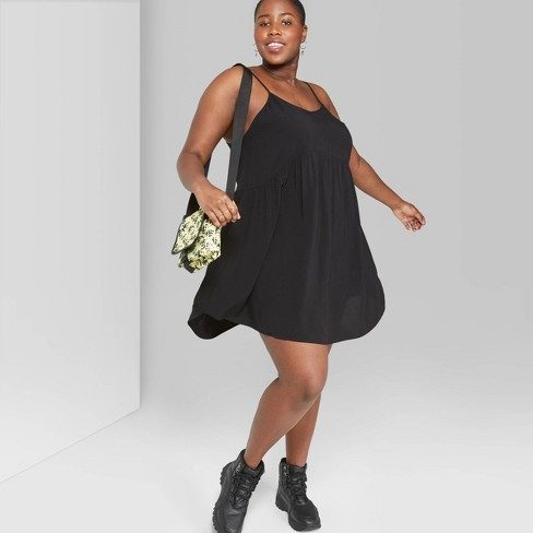 Women\'s Plus Size Strappy V-Neck Babydoll Dress - Wild Fable™ Black 4X