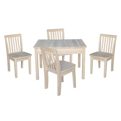 Kids' Storage Table with 4 Mission Juvenile Chairs Unfinished - International Concepts