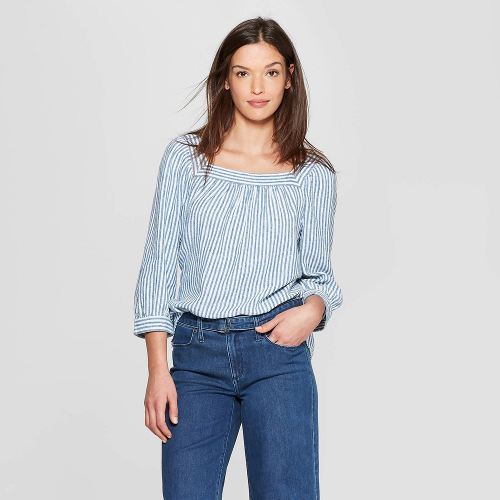 Women's Striped Long Sleeve Square Neck Top - Universal Thread Blue S